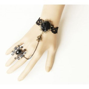Black Western Style Floral Lady Lolita Bracelet And Ring Set