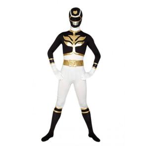 Black & White Lycra Spandex Superhero Zentai Suit