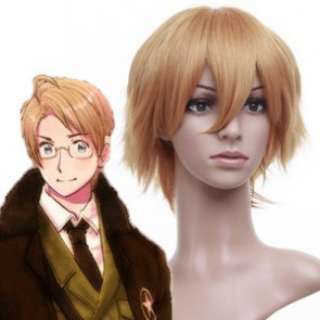 Blonde 32cm Axis Powers Hetalia American Cosplay Wig