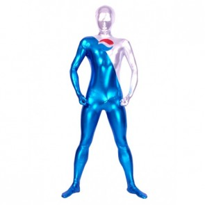 Blue And Silver Full Body Shiny Metallic Unisex Zentai Suit