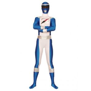 Blue And White Lycra Spandex Superhero Zentai Suit