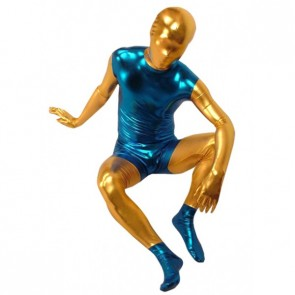 Blue And Yellow Full Body Shiny Metallic Unisex Zentai Suit