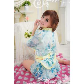 Blue Charming Floral Pattern Japanese Kimono