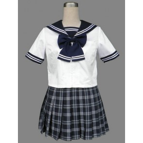 Blue Check Lovely Short Sleeves Girl School Uniform Cosplay Costume