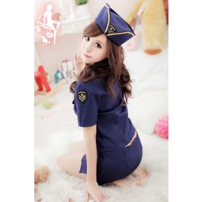 Blue Classic Pocket Flight Attendant Costume