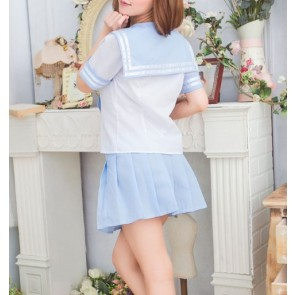 Blue Cute Short Sleeves Girl School Uniform Cosplay Costume