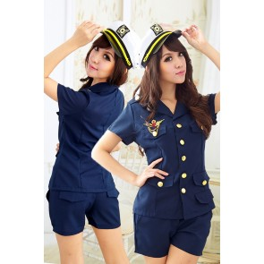 Blue Elegant Pocket Police Officer Costume