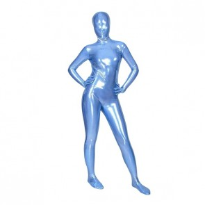 Blue Full Body Shiny Metallic Unisex Zentai Suit