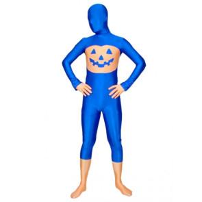 Blue Halloween Pumpkin Lycra Spandex Zentai Suit