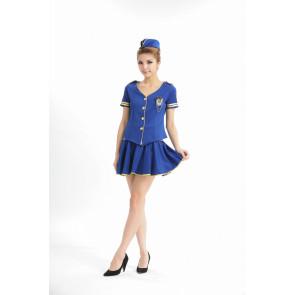 Blue Naughty V Collar Strapless Adult Flight Attendant Uniform