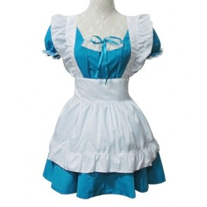 Blue Short Sleeves Cotton Cosplay Maid Costume
