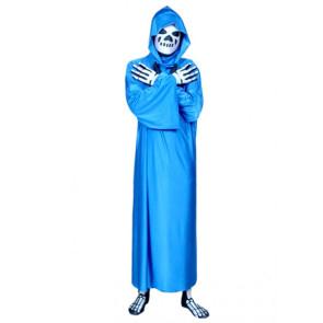 Blue Skeleton Cloak Lycra Spandex Zentai Suit