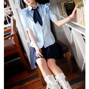 Blue Sweet Short Sleeves Girl Japanese School Uniform Cosplay Costume