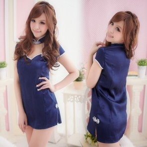 Blue Traditional Collar Floral Print Qipao Dress Costume