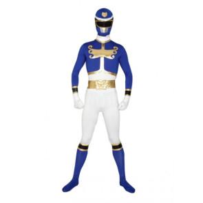 Blue & White Lycra Spandex Superhero Zentai Suit