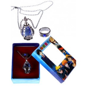 Blue Puella Magi Madoka Magica Alloy Cosplay Ring Necklace Set