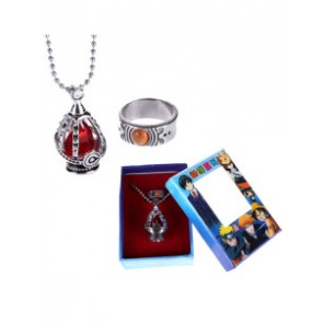 Red Puella Magi Madoka Magica Alloy Anime Ring Necklace Set