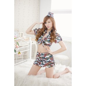 Camouflage Sexy Turndown Collar Two-piece Police Uniform Costume