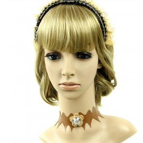 Charming Coffee Leather Floral Lady Lolita Neckband
