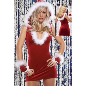 Charming Red Hooded Santa Christmas Costume