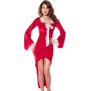 Charming Red Polyester Long Sleeves Women Christmas Costume