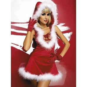 Charming Santa Lace-up Front Women Christmas Dress
