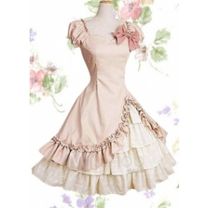 Light Pink Cotton Short Sleeves Ruffle Classic Lolita Dress