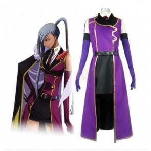 Code Geass Villetta Nu Cosplay Purple Overcoat Costume