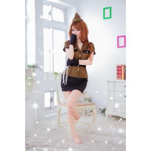 Coffee Elegant Turndown Collar Pocket Police Costume