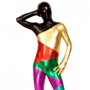 Colorful Full Body Shiny Metallic Unisex Zentai Suit
