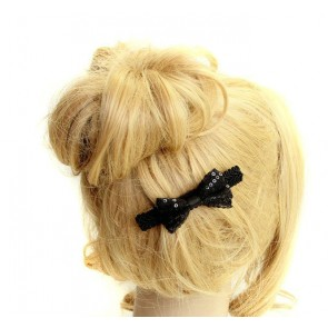 Concise Black Bow Girls Lolita Hairpin