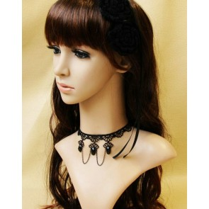 Concise Black Lace Victorian Beaded Lolita Choker