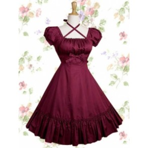 Cotton Fuchsia Red Ruffles Short Sleeve Classic Lolita Dress