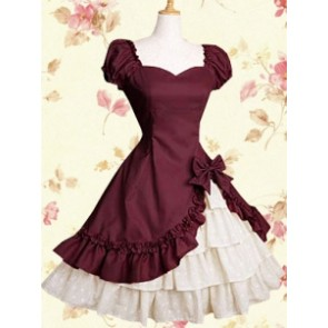 Classic Red Cotton Short Sleeves Ruffle Bow Lolita Dress