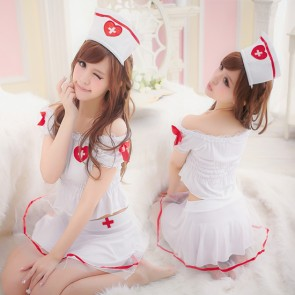 Cute and Hot Pleated Halter Adult Nurse Costume