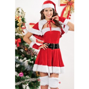 Cute and Naughty Velvet Girls Christmas Costume