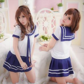 Cute Blue Short Sleeves Girl School Uniform