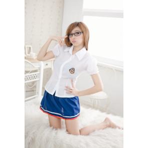 Cute Blue Short Sleeves School Girl Uniform