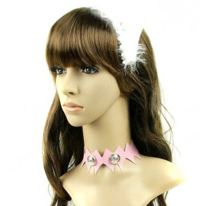 Cute Pink Leather Button Girls Lolita Neckband