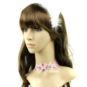 Cute Pink Leather Button Girls Lolita Neckband