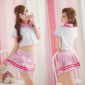 Cute Pink Short Sleeves School Girl Costume