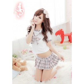 Cute Plaid Pattern Bow School Girl Uniform
