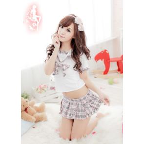 Cute Plaid Pattern Bow School Girl Uniform