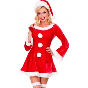 Cute Red Girls Santa Christmas Costume