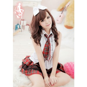 Cute Red Plaid Pattern Short Sleeves School Girl Uniform