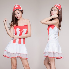 Cute Sleeveless Bow Naughty Nurse Costume