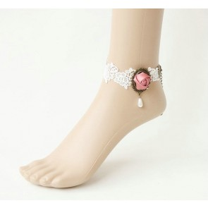 Cute White Floral Handmade Lolita Ankle Belt