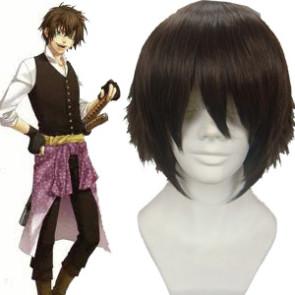 Dark Brown 30cm Hakuouki Toudou Heisuke Cosplay Wig