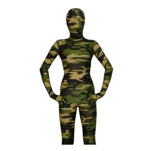 Dark Green Lycra Spandex Camouflage Unisex Zentai Suit
