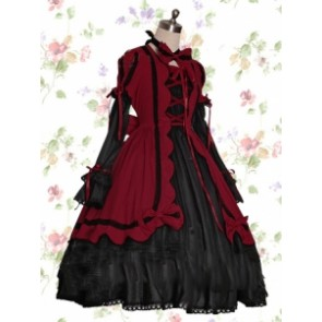Long Sleeves Dark Red & Black Cotton Gothic Lolita Dress